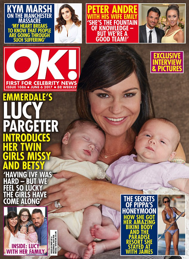 Family affair: Lucy Pargeter, 40, has finally introduced her gorgeous twins, Missy and Betsy, to the world in a candid interview with OK Magazine as she divulges the intimate details of her IVF treatment to help her conceive her daughters
