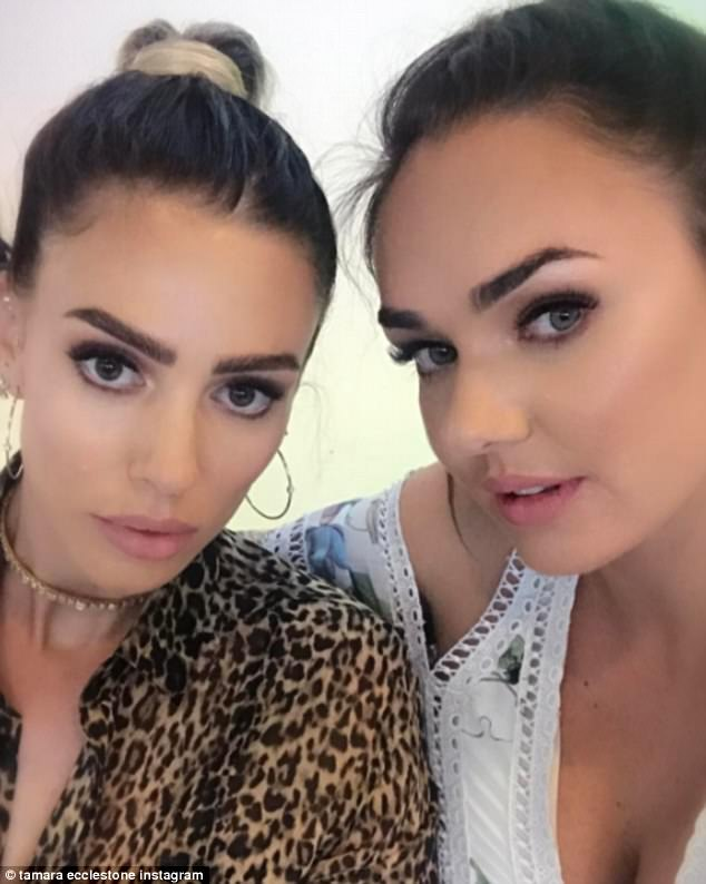 Sister, sister: Tamara Ecclestone shared a defiant selfie of herself cosying up to sister Petra Stunt, putting on a united front as they enjoyed some quality family time together