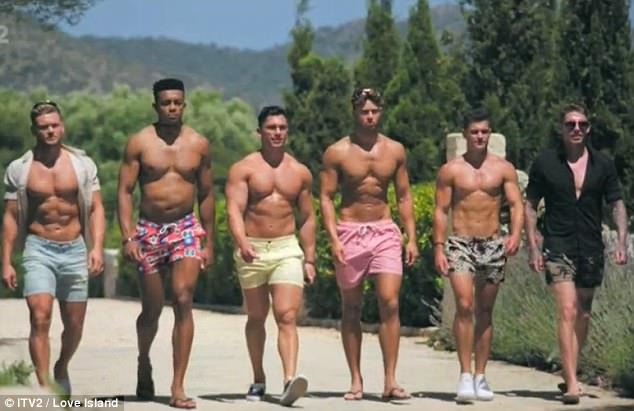 Here come the boys: Craig (far right) entered the villa to shake things up alongside five other new boys - making a beeline for Camilla just moments after joining the show