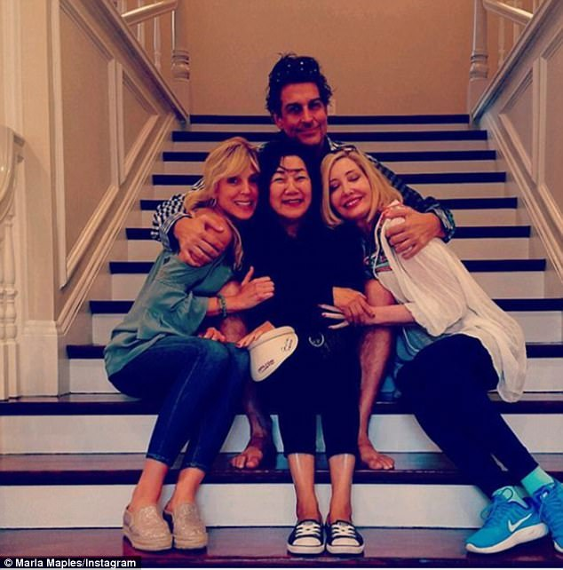 Fun times: Earlier in the week, Marla was on a road trip with her friends Melissa Hannan and Jimmy Demers, and they traveled to Rhode Island to visit Michelle Kwan's mom (center)