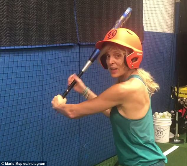 Getting ready: Marla Maples enjoyed some batting practice on Wednesday, the day before The Broadway League softball playoffs