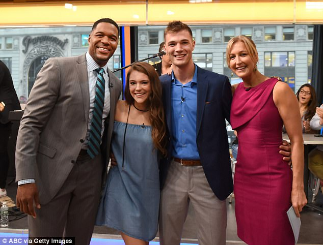 Lara (pictured with co-host Michael Strahan) was away from the GMA set this week on a family vacation to Nantucket