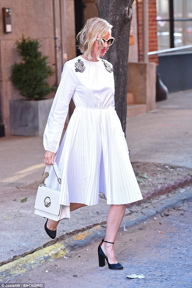 Elegant: The actress, 48, dazzled in a pretty white sun-dress and retro shades as she arrived at the NBC studios in Manhattan ahead of her chat