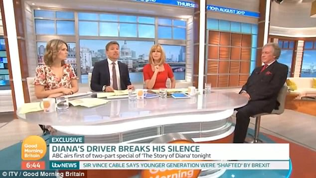 Mr Tebbutt (right) appeared on Good Morning Britain today alongside (from left) presenters Charlotte Hawkins, Ben Shephard and Kate Garraway