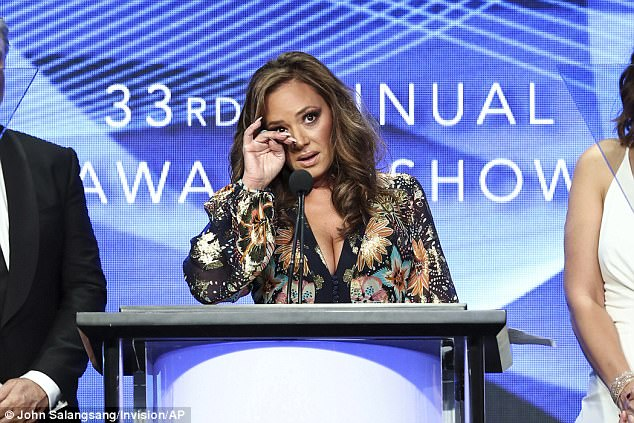 Moss reportedly left the room on Saturday as Remini accepted an award at the TCAs for the first season of her docuseries, Leah Remini: Scientology and the Aftermath. She's pictured above during her acceptance speech
