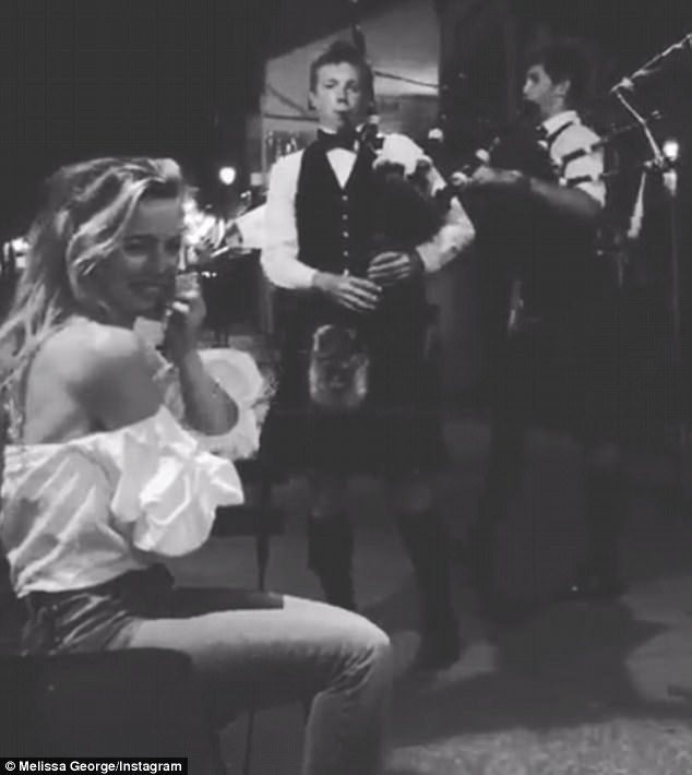 Bagpipe dreams: In another video the mother-of-two revealed the Scottish menhad serenaded her with their pipes