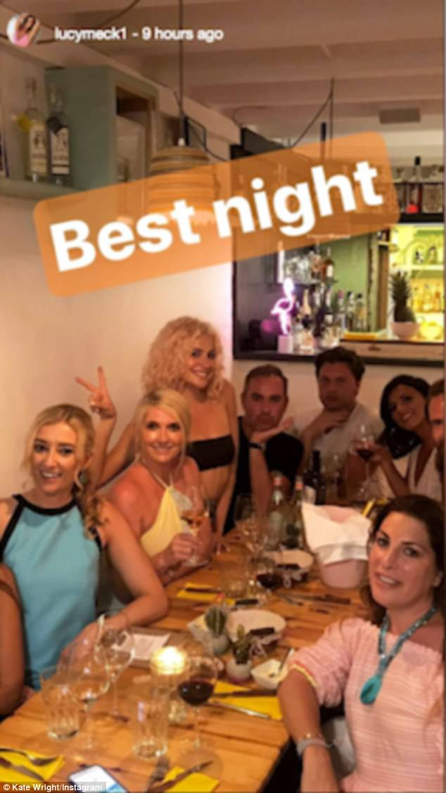 Squad: The star has been joined on her holiday jaunt with pal Pixie Lott, her fiance Oliver Cheshire and Mario among others