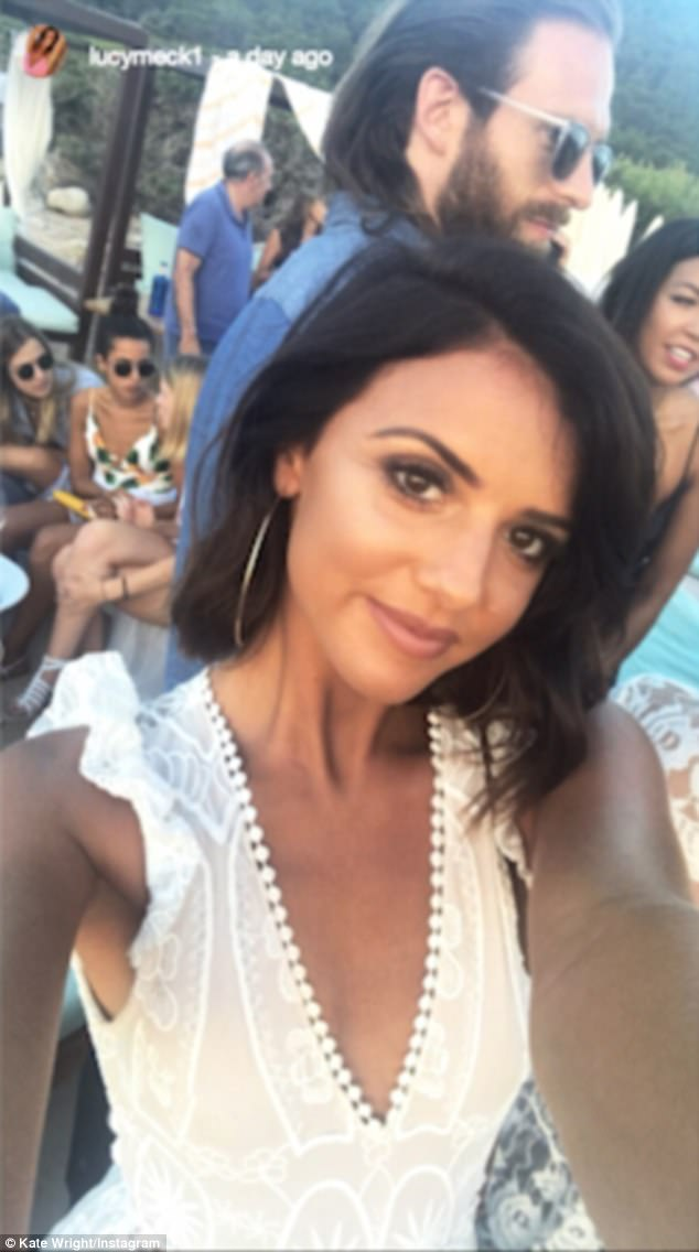 Selfie: The gang have been sharing clips of their raucous nights out with Lucy seen dancing and clinking cocktails set against the gorgeous Spanish sunset