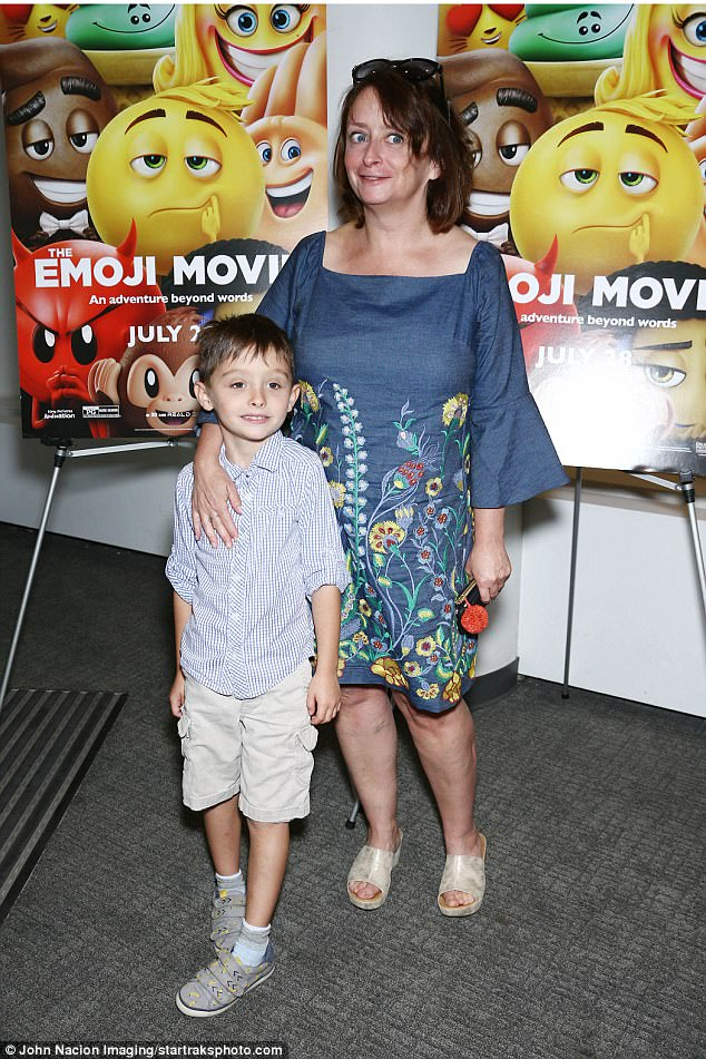Her plus one: Saturday Night Live's Rachel Dratch, 51, and son Eli, six, seemed excited to see the movie