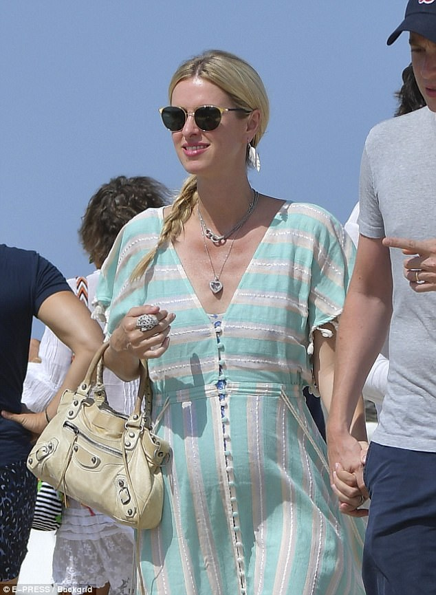 Yummy mummy: Nicky Hilton, 33, showed off her chic maternity style as she enjoyed a sun soaked getaway to Saint-Tropez, France on Sunday