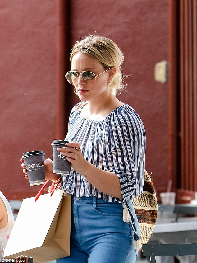 Focused: The actress was snapped grabbing coffee earlier this month in LA