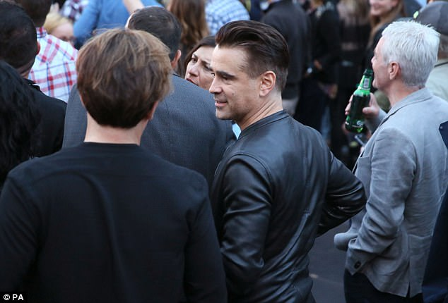 Celeb sighting: Irish actor Colin Farrell also looked in high spirits as he enjoyed the U2 gig earlier in