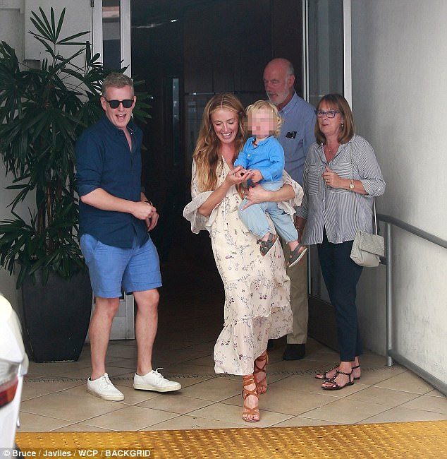 Family outing: Cat Deeley, 40, looked summer chic as she stepped out in Beverly Hills on Saturday with parents Janet and Howard, husband Patrick Kielty and their 19-month-old son Milo
