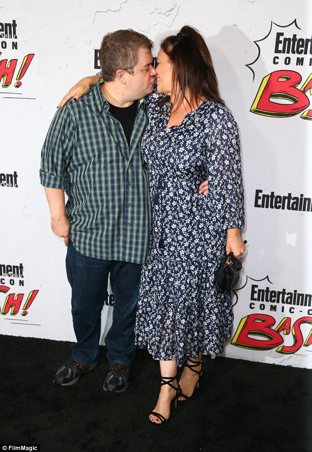 Hugs and kisses!Patton Oswalt shared a sweet kiss with his fiancee Meredith Salenger as they attended the Entertainment Weekly's Comic-Con party on Saturday.