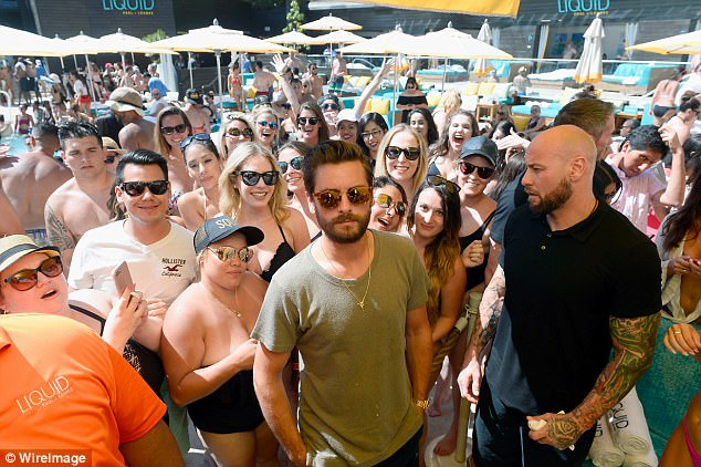 Party people: Renowned for his love of partying, hordes of fans turned out to see the reality star at the LIQUID Pool Lounge at the Aria Resort & Casino