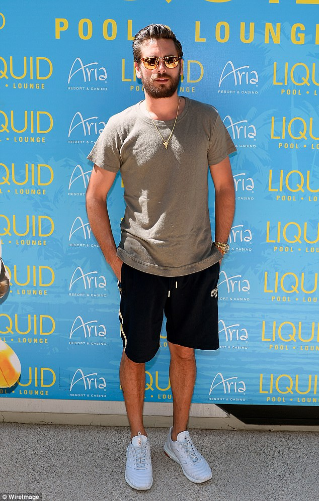 Party dude: A casually dressed Scott Disickhosted a pool party at the LIQUID Pool Lounge at the Aria Resort & Casino in Las Vegas on Saturday
