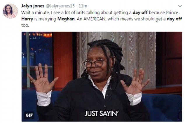 Twitter users from the US said they should also get the day off work as Meghan is American