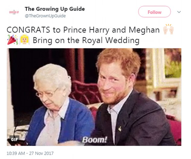 Many used a GIF of Harry's Invictus Games video with the Queen in response to the news
