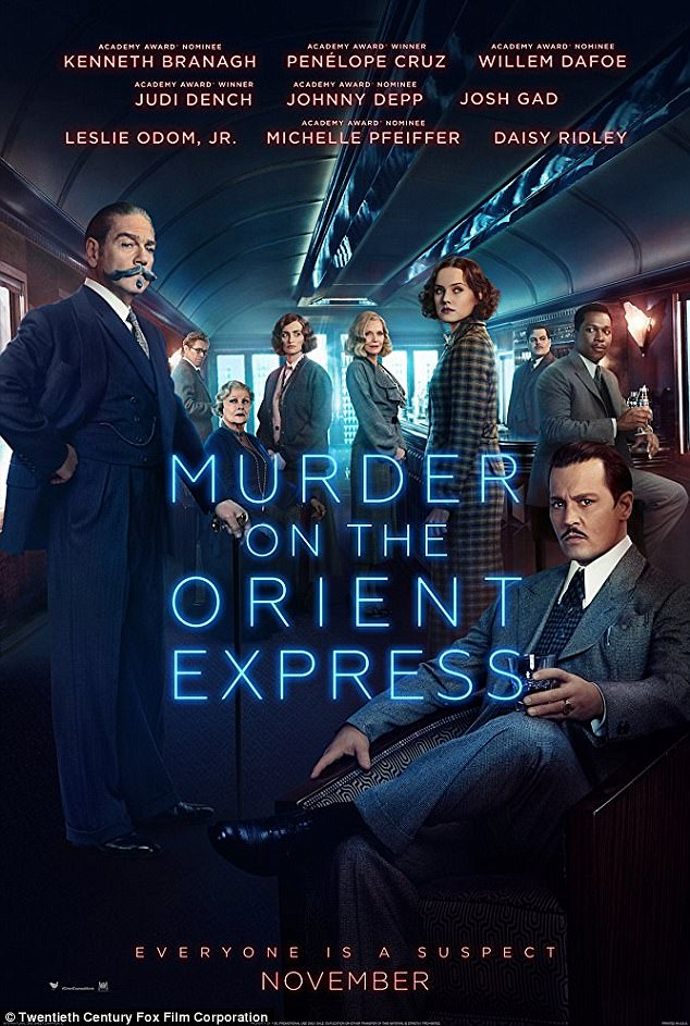 'Everyone is a suspect': Fans can catch the lavish train-set who-done-it when the suspenseful flick hits UK theaters on November 3 and US theaters November 10