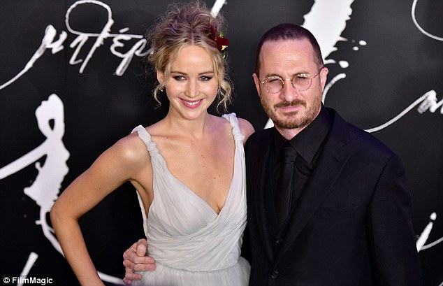 'Too dark': Jennifer Lawrence has opened up about her director beau Darren Aronofsky (pictured together at the New York premiere) after their new film Mother! hit cinemas on Friday