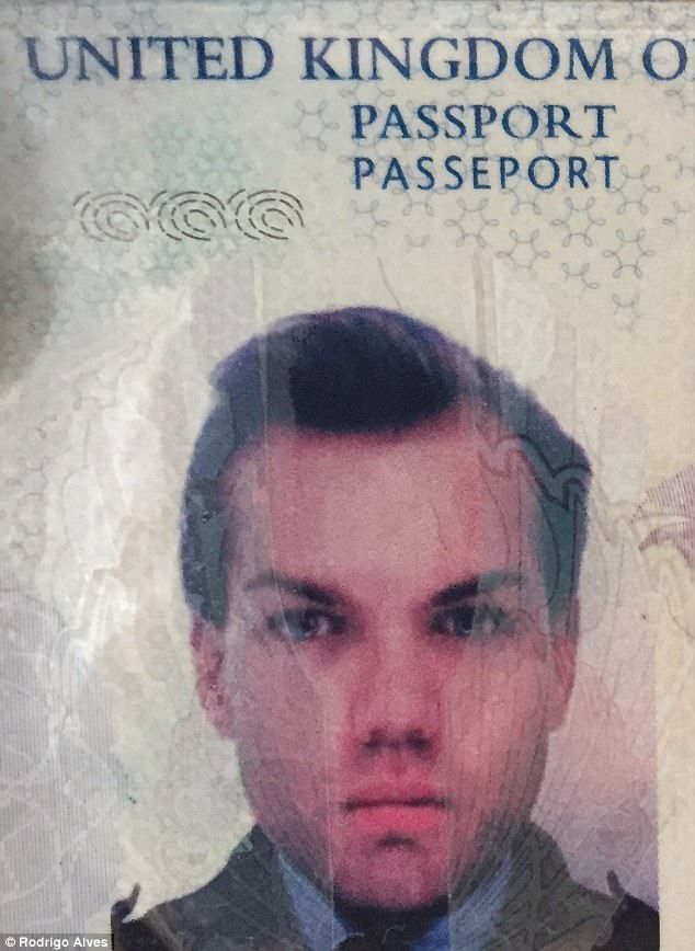Unrecognisable: The star looked totally different in his passport picture