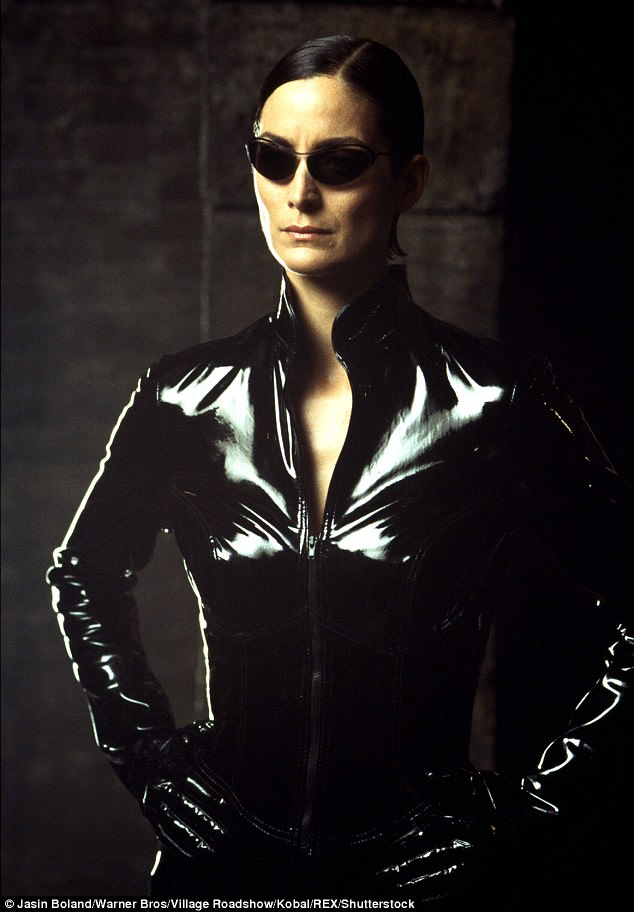 Inspiration? Her look was more than somewhat reminiscent of Trinity from The Matrix series of movies
