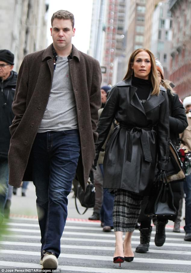 In character:Jennifer and Alan were spotted crossing the street as they were filmed having a heated conversation