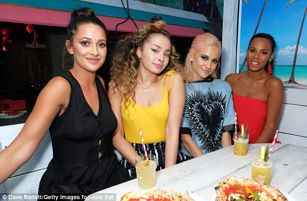 Joining them at the event: Roxie Nafousi, Ella Eyre, Pixie Lott (l-r) posed happily at the food event