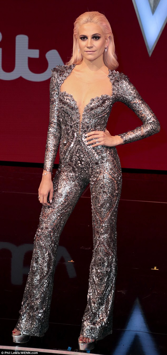 Sizzling: Pixie Lott proved ruling the juniors will not prevent her sexy style as she sported a sizzling ensemble while joining fellow judges will.i.am and Danny Jones, as she posed up a storm ahead of The Voice Kids final on Thursday