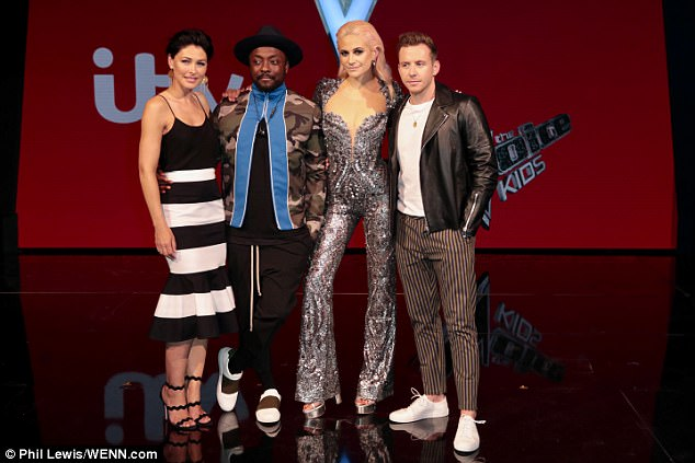 The whole gang: Pixie is known for her daring fashion choices - making no exception for the final - as she slipped into the eye-wateringly tight jumpsuit complete with plunging neckline and form-fitting body to best expose her frame