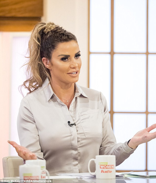 Tense: Katie Price's lack of filter appeared to get her in trouble with comedian Julian Clary, 58, on Thursday's installment of Loose Women as they discussed their husbands' want to stay out of the limelight