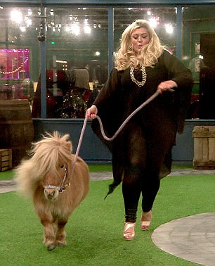 Hot to trot: During her appearance on Celebrity Big Brother, Gemma famously received a visit from Tony The Pony as a birthday treat (right), and trotted around the garden with her equine companion