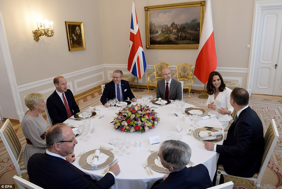 It was straight down to business for the couple who began with a meeting at the Presidential Palace. President Andrzej Duda (right) and his wife Agata Kornhauser-Duda (second left) and the British Ambassador Jonathan Knott (third right)