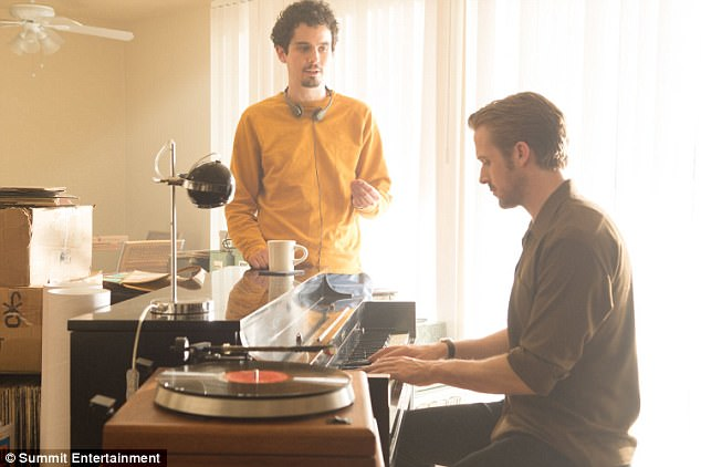 Reunited: Ryan likely moved his partner Eva Mendes and their daughters - Esmeralda, 3; and Amada, 18 months - to Georgia as he shoots the Universal Pictures flick with his La La Land director Damien Chazelle (L)