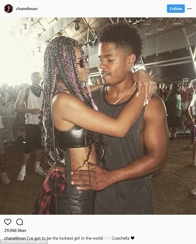 Love:The weekend before she posed with her beau. She said she was 'the luckiest girl in the world.' Iman's boyfriend is NFL rookie Sterling Shepard