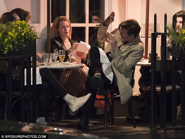 Having a ball:Claire and Matt appeared in better spirits than ever as they enjoyed a casual al fresco dinner together after a busy few weeks filming