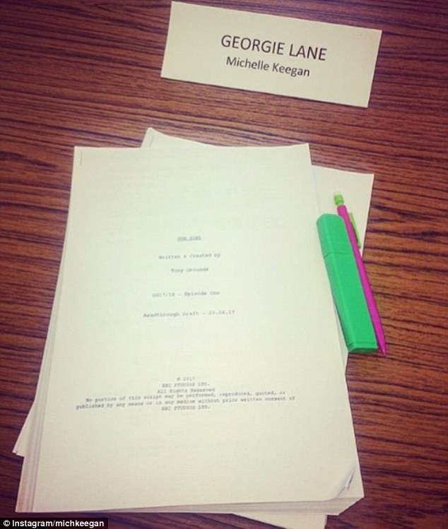 'Read through today!' The actress took to Instagram with a picture of her script for the lead role of Corporal Georgie Lane, a female medic in the army