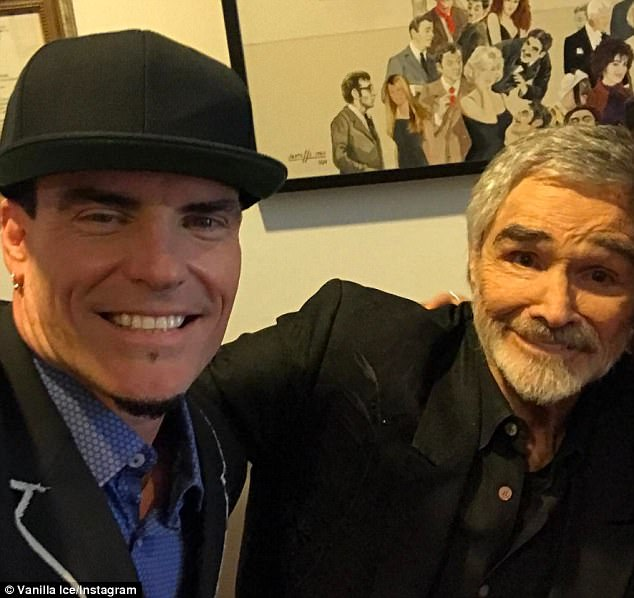'Shout out to my friend!' Rapper Vanilla Ice snapped a selfie with Hollywood legend Burt Reynolds backstage at the Palm Beach International Film Festival in Boca Raton on Friday