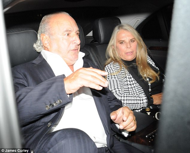 Billionaires: The 65-year-old tycoon, who is estimated to be worth £3.8bn, cut a dapper figure for his dinner date in a black pinstriped suit paired with a white fitted shirt which was open at the neck as he joined wife Tina in their luxury car