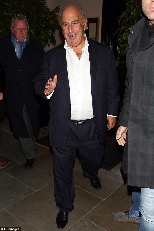 Dinner date: Putting the BHS scandal behind him, Sir Philip Green enjoyed a lavish night out with his glamorous wife Tina at Scott's restaurant in Mayfair, London on Monday