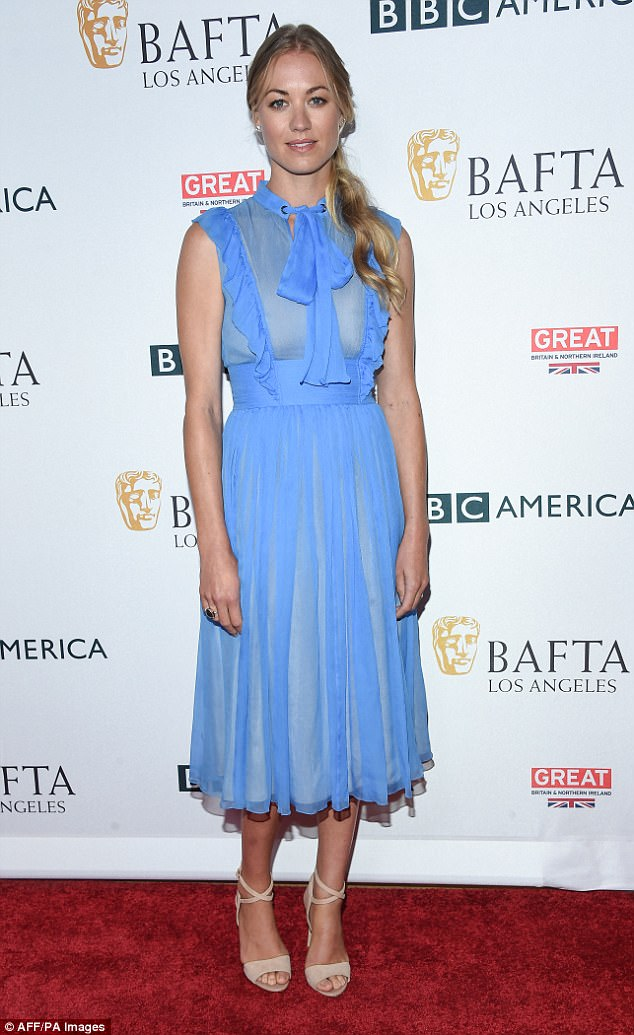 A vision in blue:Yvonne was last seen at the BBC BAFTA tea on Saturday afternoon