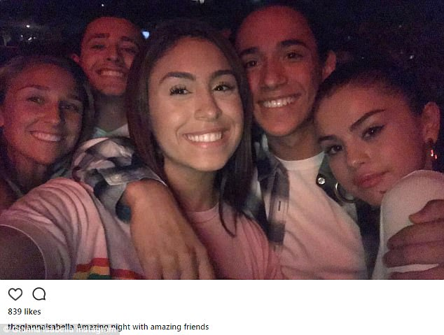 'Amazing night': American Idol alumna Gianna Isabella has posted an Instagram selfie from the concert of herself with Selena and a group of 'amazing friends'