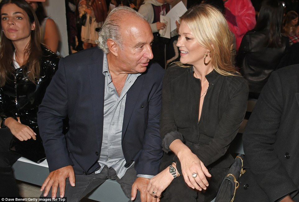 Old friends: Kate happily chatted to Philip Green at the event