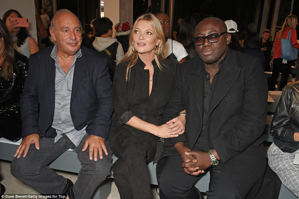 Guests of honour: Topshop boss Sir Philip Green was joined in the front row by Kate and VOGUE's Edward Enninful