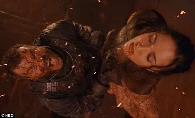 RIP: Jessica Henwick's bullwhip-slinging Sand Snake Nymeria met her untimely end by the strangling hands of Euron Greyjoy (Pilou Asbæk) on last Sunday's episode of HBO's Game of Thrones