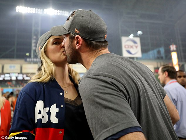 Bride to be:Kate was seen cheering on the Houston Astros player as they took on the New York Yankees at Minute Maid Park in Houston, Texas, on Friday