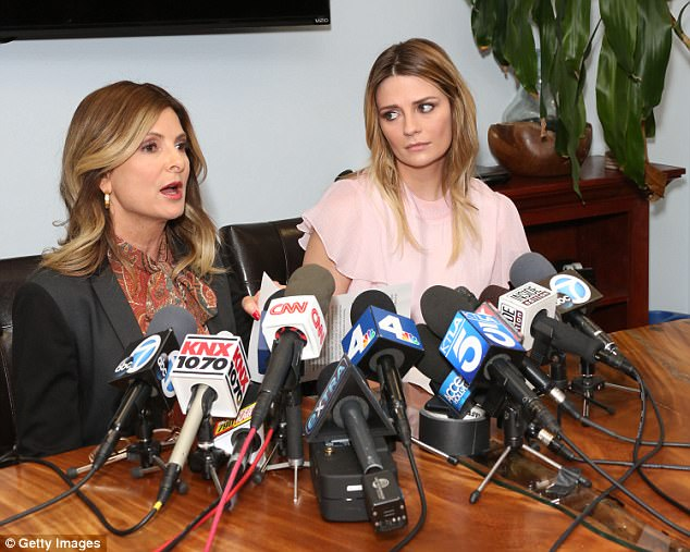When news broke: Barton (R) and her Attorney Lisa Bloom (L) hold news conference in March  in Woodland Hills, California