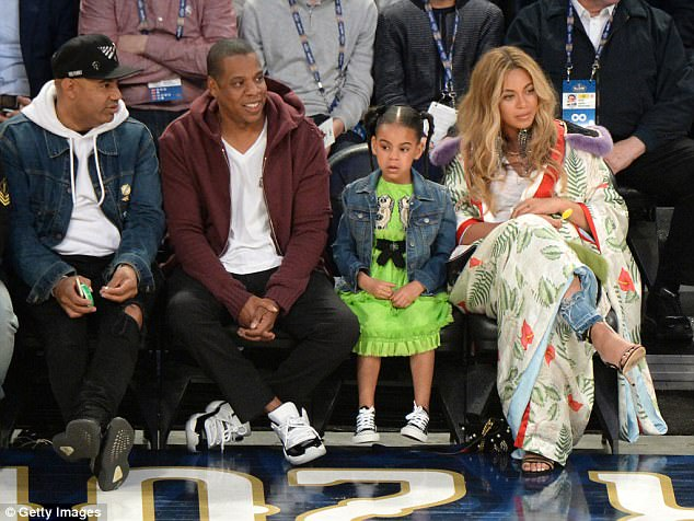 Family fun:Along with their boy-girl twins, the couple are also parents to five-year-old daughter Blue Ivy, as they are pictured together back in February