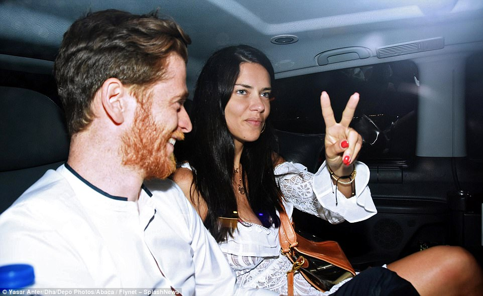 Peace: Adriana seemed in great spirits after her romantic evening
