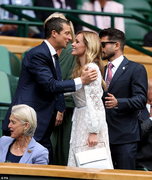 Come here, you! She politely greeted survival expert Bear Grylls as she walked into the royal box